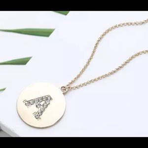 Jewelry - ROUND GOLD TONE CRYSTAL INITIAL LETTER NECKLACE